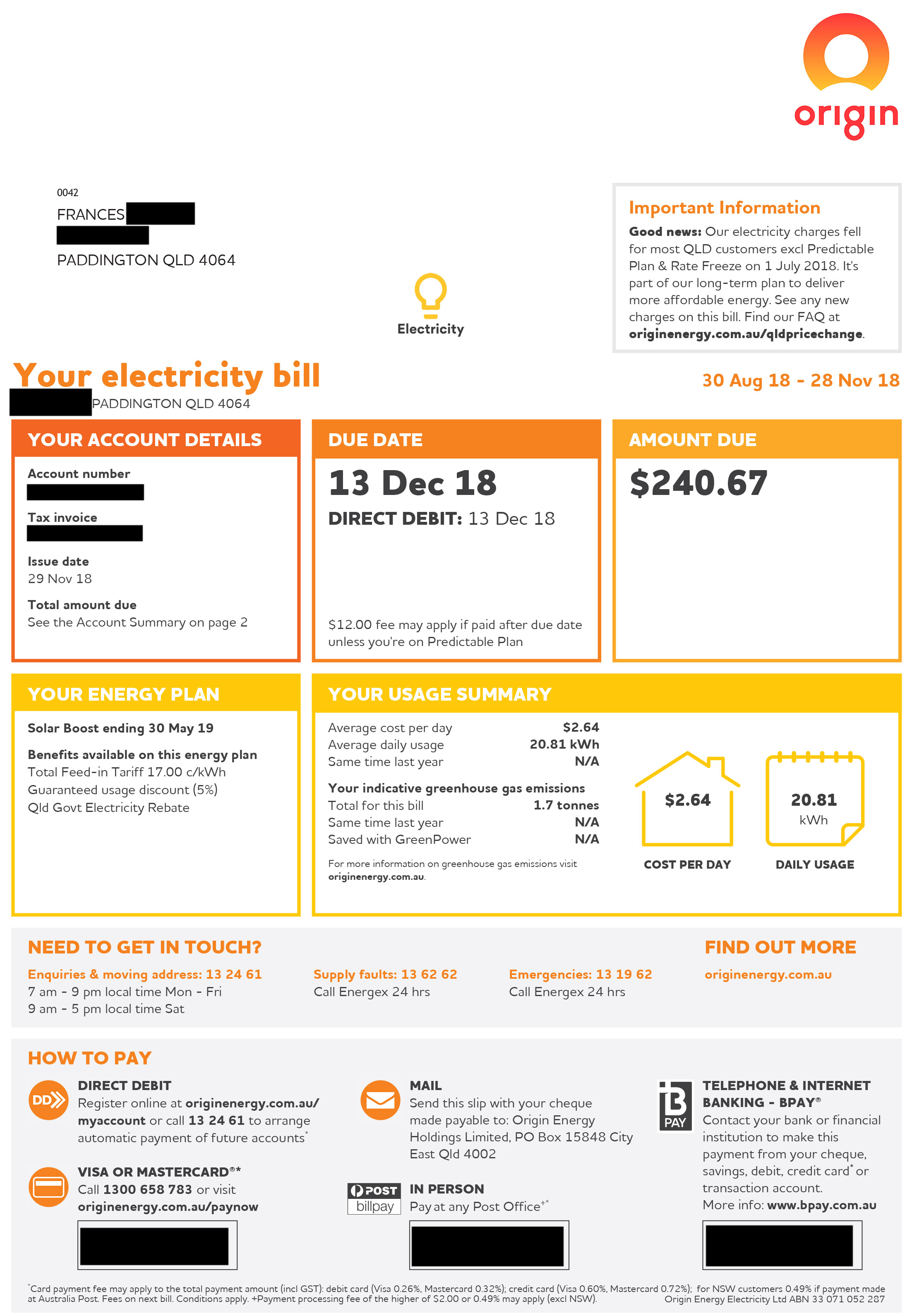 Frances - Origin Energy Bill