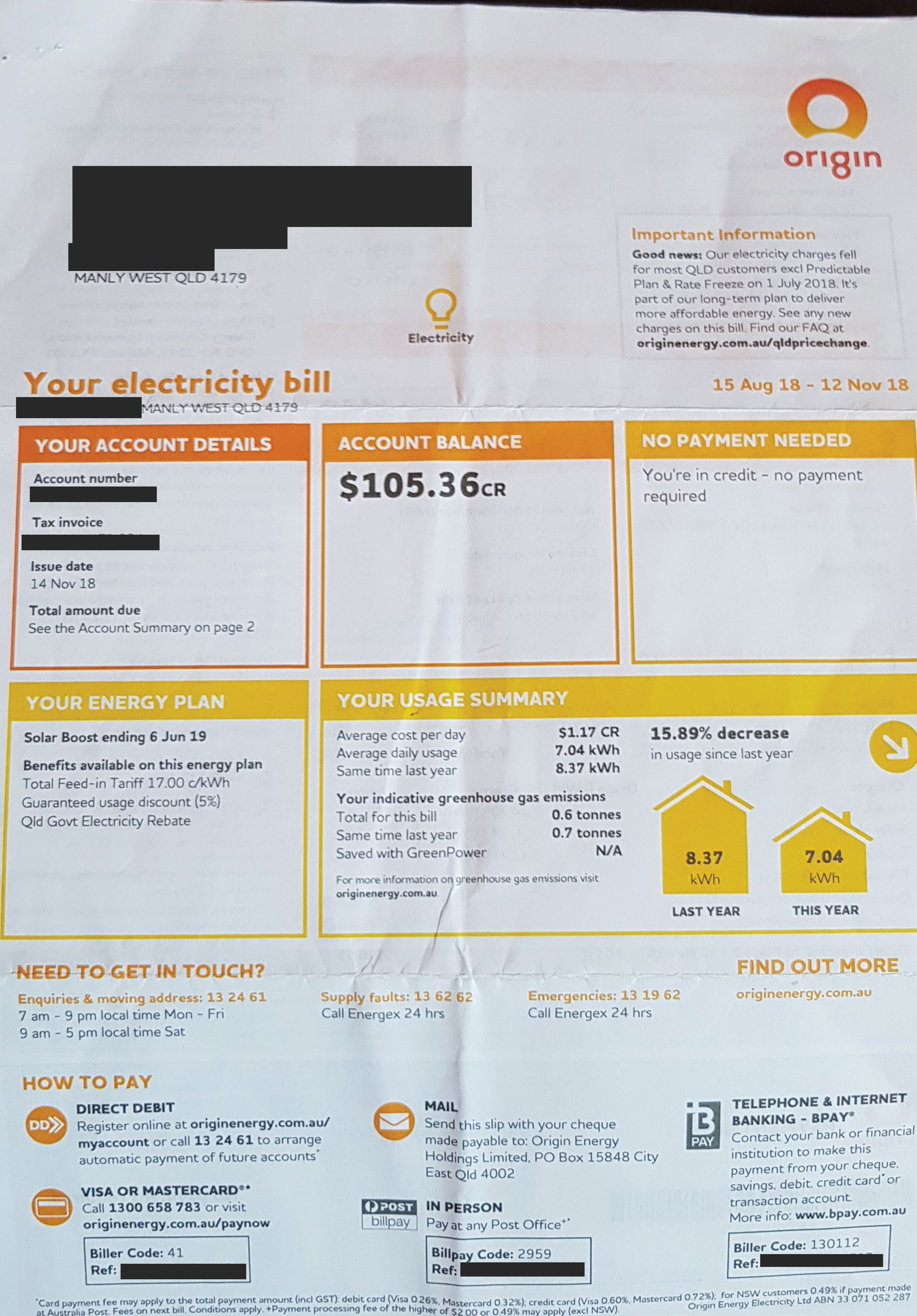 Maria DLBS - Origin Energy Bill